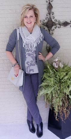 50 IS NOT OLD | STYLING SHADES OF GRAY | fringe scarf |  Fashion over 40 for the everyday woman.
