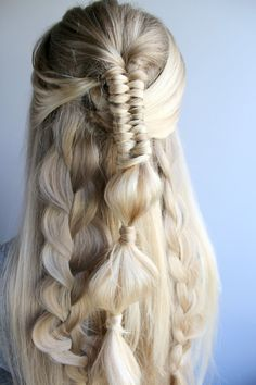 Infinity bubble braid hairstyle on naturally blonde hair