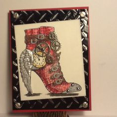 Steampunk shoe card, love the angel wing heal! Stampendous stamp,Tim Holtz gears and Ten Second Studio metal paper.