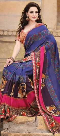 122962, Party Wear Sarees, Georgette, Tissue, Lace, Printed, Machine Embroidery, Multicolor Color Family