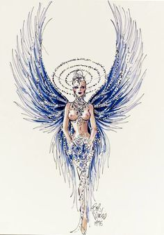 "1975 A proposed costume design by Bob Mackie for the number ""I Married an Angel"" from the Las Vegas show, ""Jubilee"", felt pen and watercolor on paper, signed Carnival Outfits, Carnival Costumes, Girl Costumes, Dance Costumes, Fashion Illustration Sketches, Fashion Sketches, Carnival Outfit Carribean, Showgirl Costume, Beautiful Costumes"