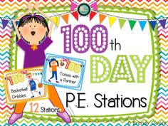 Set up easy Day-themed physical education stations in your P. classroom with these task cards! Set of 14 color, full page task cards/station signs stations with optional versions of one) and three pages of station directions and materials list. Elementary Physical Education, Elementary Pe, Health And Physical Education, 100 Days Of School, School Holidays, School Fun, School Ideas, Pe Activities, Physical Activities