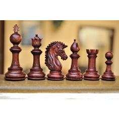Exceptional Triple Weighted Staunton Bud Rose Wood Chess Set (4Q). Http://