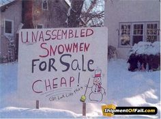 Unassembled Snowman For Sale Sign, Snowmen & Frosty Friends Craft