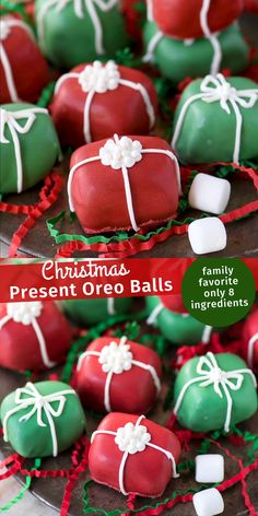 Your family will want to make these Christmas present oreo balls each season! A little spin on classic oreo balls transforms these into one of the best no bake holiday treats! #oreoballs #christmasoreoballs
