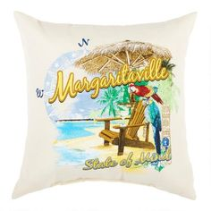 """One of my favorite discoveries at ChristmasTreeShops.com: """"Margaritaville State of Mind"""" All-Weather Throw Pillow"""