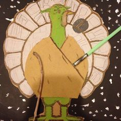 Turkey in disguise as Yoda Turkey Art, Tom Turkey, Turkey Time, School Projects, Projects For Kids, Art Projects, Class Projects, Classroom Projects, Diy And Crafts