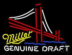 Miller Genuine Draft Golden Gate Bridge Beer Neon Sign 24 Tall x 31 Wide x 3 Deep, is 100% Handcrafted with Real Glass Tube Neon Sign. !!! Made in USA !!!  Colors on the sign are White, Red, Yellow and Blue. Miller Genuine Draft Golden Gate Bridge Beer Neon Sign is high impact, eye catching, real glass tube neon sign. This characteristic glow can attract customers like nothing else, virtually burning your identity into the minds of potential and future customers.