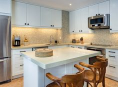 Kitchen Room, White Cute Of The Small Design Ideas Of The L Shaped Kitchen In Your House With Ceramic Kitchen Island Chairs Oven Kitchen Cabinets Subtile Way Refrigerator And Gas Stove ~ Wonderful Small L Shaped Kitchen Designs