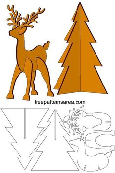 Deer and tree template in order to make cardboard toys. Simple puzzle craft idea for kids consisting of animal and tree models. Christmas Yard Art, Christmas Wood, Christmas Crafts For Kids, Christmas Projects, Holiday Crafts, Christmas Ornaments, Christmas Templates, Christmas Trees, Cardboard Animals