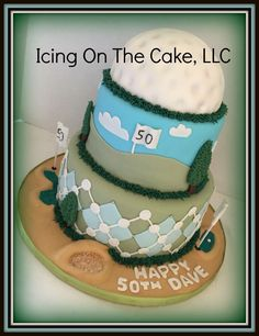 I've never done a golf themed cake, but I really enjoyed working on this cake!  Cake is covered in fondant which is always my favorite way to go!    www.facebook.com/icingonthecake1