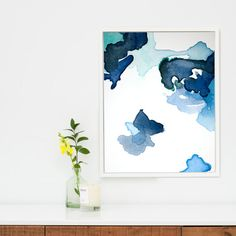 Large Abstract Art Print Navy Blue Abstract Canvas Wall