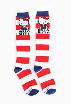 Long #HelloKitty cotton socks in bright classic stripes