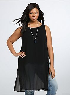 """<p>This tank will always keep you guessing! The ultra sleek black chiffon style looks like business as usual, but once you catch a glimpse of the hi-lo length, the tulip back and the side splits that reveal a matching tank underlay, you'll be stunned.</p>  <p></p>  <p><b>Model is 5'11"""", size 1</b></p>  <ul> <li>Size 1 measures 27 1/4"""" from shoulder</li> <li>Polyester</li> <li>Wash cold, dry low</li> <li>Imported plus size tank</li> </ul>"""
