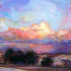 ROADSIDE AT DUSK - 6 X 6 pastel by Susan Roden, painting by artist Susan Roden