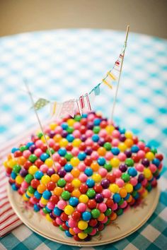 A glorious gum ball cake to celebrate any occasion!