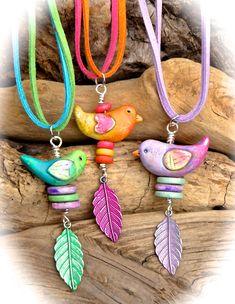 Polymer clay bird beads