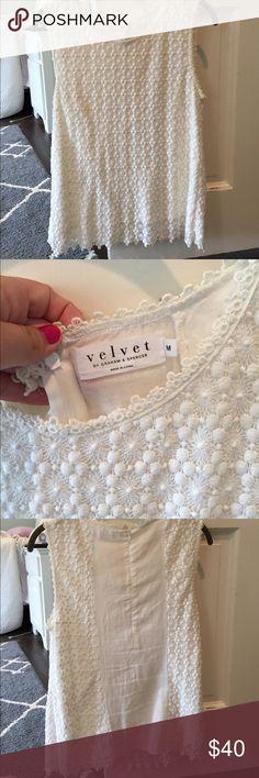 Velvet top! Has flower detailing. Only worn once! Size medium Velvet by Graham & Spencer Tops