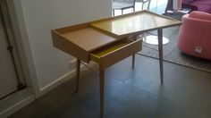 Litho desk in mustard lacquers with natural oak. RRP reduced to to clear. Price reflects some chips Ligne Roset, Armchairs, Mustard, Reflection, Chips, Desk, Natural, Home Decor, Wing Chairs
