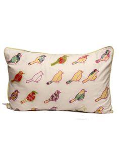Green Cushion Cover Bird Grid
