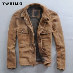 Retro Genuine Leather Leather Clothing Lapel Scrub Sheepskin Do Older Genuine Leather Coat Cowboy Yellow Men's Leather Jackets *~* Shop 4 Xmas n Locate this beautiful piece simply by clicking the VISIT button. Wax Jackets, Outerwear Jackets, Timberland Leather Jacket, Leather Jackets, Leather Men, Lounge Wear, Fashion Outfits, Style Fashion, Men Casual