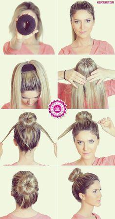 Este moño lo haces en simples pasos y te dá un look súper chic en segundos Work Hairstyles, Braided Hairstyles, Donut Bun Hairstyles, Party Hairstyle, Wedding Hairstyles, Holiday Hairstyles, Hairstyles 2018, Summer Hairstyles, Trendy Hairstyles