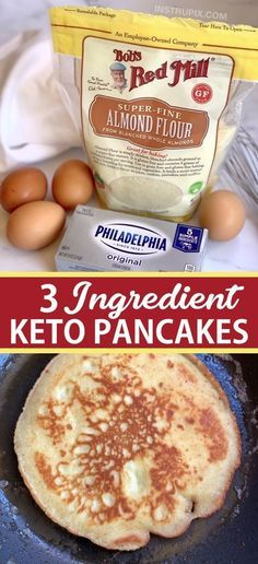 The BEST 3 Ingredient Keto Pancakes (made with almond flour, cream cheese & eggs). - Looking for easy healthy keto breakfast ideas? These quick and easy 3 ingredient keto pancakes are - Ketogenic Recipes, Low Carb Recipes, Ketogenic Diet, Flour Recipes, Health Recipes, Easy Recipes, Leptin Diet, Crepe Recipes, Amish Recipes