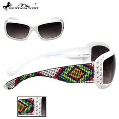 90a99f91a73 Womans Montana West Sunglasses Hand Beaded Aztec Design White Frame Green  Red