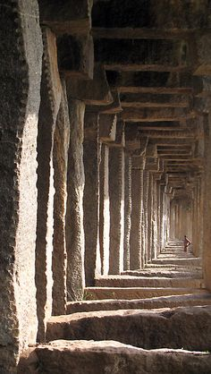 Horizontal vertigo by Hélène David-Cuny    Pilars of an old 18th century stone bridge in Srirangapatna – Karnataka – India