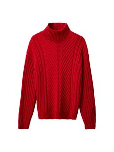 Sweater with cable-knit details. Features a straight fit, polo neck, long puffy sleeves and ribbed trims. Polo Neck, Cable Knit, Men Sweater, Golf, Turtle Neck, Knitting, Sleeves, Red, How To Make