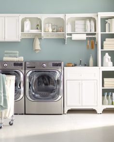 A laundry room that has plenty of storage options and is also pleasing to the eye will help keep you organized. Mix and match the hutches, wall-mounted shelves and cabinets shown here from Martha Stewart Living™ Laundry to create a custom laundry system that works for your home. Shop the Martha Stewart Living™ Laundry collection