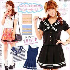 【M~3L】Sailor neckline shirt+Pleats skirt SET