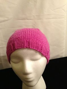 Knitted Pink Hat with a little extra room by 1finedesign on Etsy, $15.00