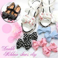 Paris Kids ribbon shoe clips in pink
