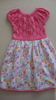 """Купить Комбинированное платье для девочки """"Розовая мечта"""" - коралловый, цветочный, платье для девочки, нарядное платье"""