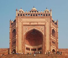"""The Buland Darwaza, the highest gateway in the world - Uttar Pradesh, India  - It means 'high' or 'great' gate in Persian.   It is also known as the """"Gate of Magnificence.""""  Buland Darwaza or the loft gateway was built by the great Mughal emperor, Akbar in 1601 A.D.   It took 12 years to build."""