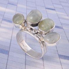 Prehnite STONE 925 Solid STERLING SILVER NEW STYLISH Fancy RING 7.64g DJR3520 #Handmade #Ring