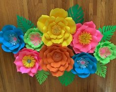 KraftyChicStudiollc on Etsy Paper Flower Decor, Flower Decorations, Paper Flowers, Large Flowers, Silver Flowers, Colorful Flowers, Girl Birthday, Birthday Parties, Wedding Parties