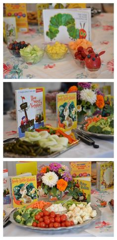 Meals desk at a e-book-themed child bathe that includes the Very Hungry Caterpillar, L.... Discover more by checking out the photo link
