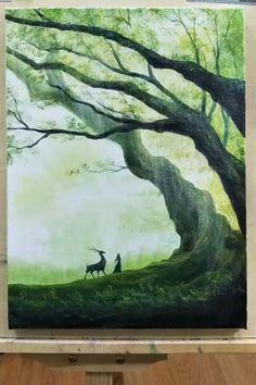 Canvas Painting Tutorials, Acrylic Painting Lessons, Painting Videos, Abstract Paintings, Painting Techniques, Art Sur Toile, Easy Canvas Art, Nature Paintings, Canvas Painting Nature