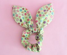 Dolly Bow Scrunchie  Colorful Flowers by JooSweetie on Etsy (Accessories, Hair Accessories, Ties & Elastics, dolly bow, hair tie, ponytail, bunny ear tie, rabbit ear tie)