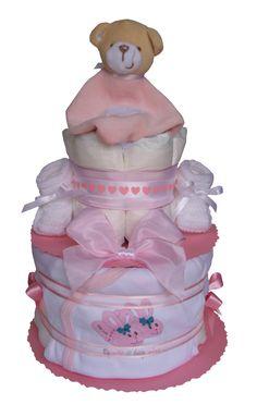 Gâteau de couches Pampers avec un doudou Ourson orné d'un coeur blanc, d'un body et d'une paire de chaussons fait main Cadeau Baby Shower, Body, Children, Cake, Handmade, White People, Home, Young Children, Boys