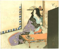 Writing a Letter by Tomioka Eisen
