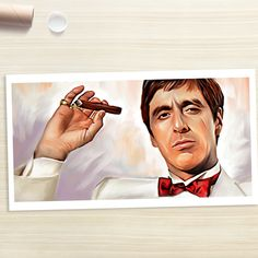 2015 ROCK high quality oil painting- Scarface MONTANA CANVAS ART 40 inch -100% handpainted WORK----free shipping cost