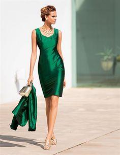 Emerald silk dress