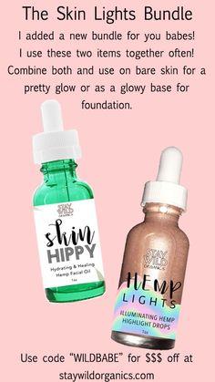 Skin lights set of skin hippy serum and hemp oil highlight drops from staywildorganics.com cosmetics beauty makeup