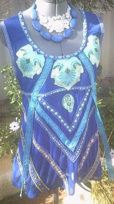 upcycled clothing, upcycled top, mermaid top, long blue top, applique top, beaded clothing, deep blue, turquoise beads on Etsy, $220.00