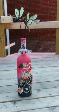 beautiful floral pink and black decorative bottle by ninasoriginals on Etsy