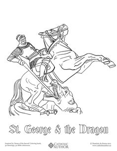 St George & the Dragon -  Free Hand-Drawn Catholic Coloring Pictures