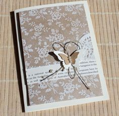 SU - I Love Lace. Stamped in white on crumb cake. love the loop of twine behind the butterflies.